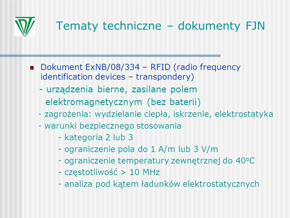 Tematy techniczne – dokumenty FJN Dokument ExNB/08/334 – RFID (radio frequency identification devices – transpondery) - urządzenia bierne, zasilane po