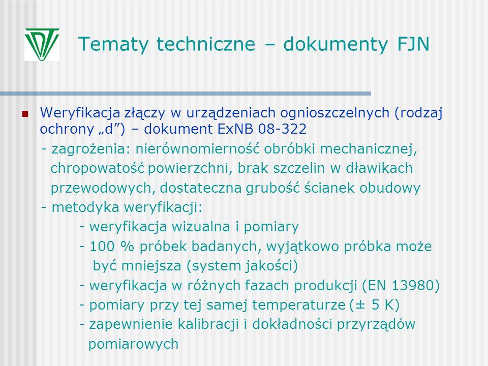 Tematy techniczne – dokumenty FJN Weryfikacja złączy w urządzeniach ognioszczelnych (rodzaj ochrony d) – dokument ExNB 08-322 - zagrożenia: nierównomi