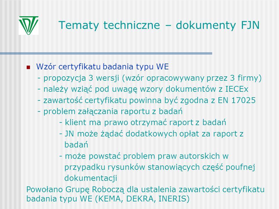 Tematy techniczne – dokumenty FJN Wzór certyfikatu badania typu WE - propozycja 3 wersji (wzór opracowywany przez 3 firmy) - należy wziąć pod uwagę wz