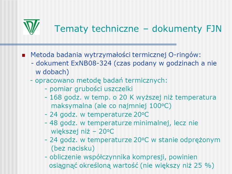Tematy techniczne – dokumenty FJN Metoda badania wytrzymałości termicznej O-ringów: - dokument ExNB08-324 (czas podany w godzinach a nie w dobach) - o