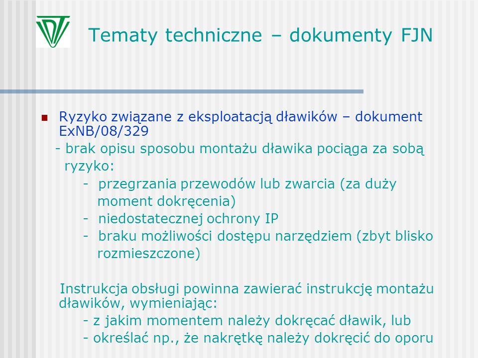 Tematy techniczne – dokumenty FJN Ryzyko związane z eksploatacją dławików – dokument ExNB/08/329 - brak opisu sposobu montażu dławika pociąga za sobą