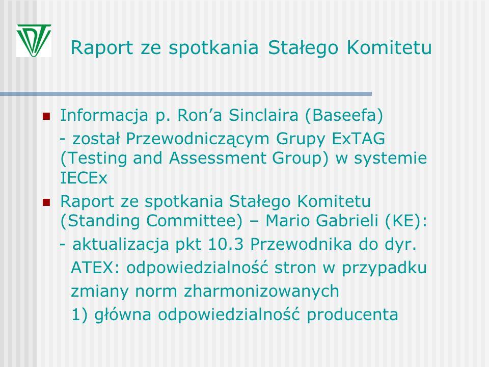 Raport ze spotkania Stałego Komitetu Informacja p. Rona Sinclaira (Baseefa) - został Przewodniczącym Grupy ExTAG (Testing and Assessment Group) w syst