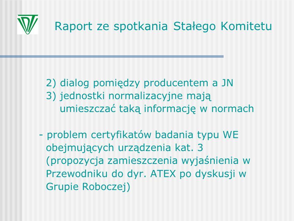 Raport ze spotkania Stałego Komitetu 2) dialog pomiędzy producentem a JN 3) jednostki normalizacyjne mają umieszczać taką informację w normach - probl