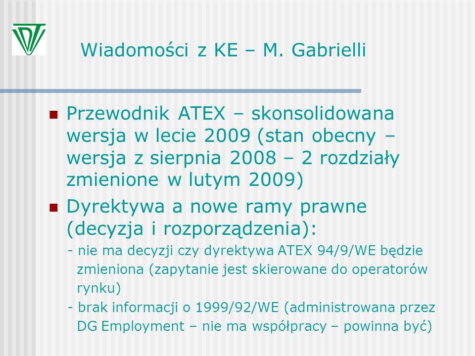 Wiadomości z KE – M. Gabrielli Przewodnik ATEX – skonsolidowana wersja w lecie 2009 (stan obecny – wersja z sierpnia 2008 – 2 rozdziały zmienione w lu