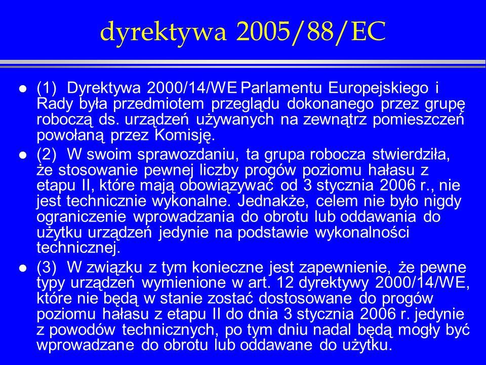 dyrektywa 2005/88/EC l Dane liczbowe dla etapu II są jedynie orientacyjne dla następujących typów urządzeń: l - walce wibracyjne prowadzone, l - płyty wibracyjne (>3kW), l - ubijaki wibracyjne, l - spycharki (gąsienicowe), l - ładowarki (gąsienicowe > 55 kW), l - wózki podnośnikowe, napędzane silnikiem spalinowym, z przeciwwagą, l - układarki do nawierzchni wyposażone w listwę do zagęszczania, l - ręczne kruszarki do betonu napędzane silnikiem spalinowym i młoty mechaniczne (15<m<30), l - kosiarki do trawników, przycinarki do trawników, przycinarki krawędziowe do trawników.