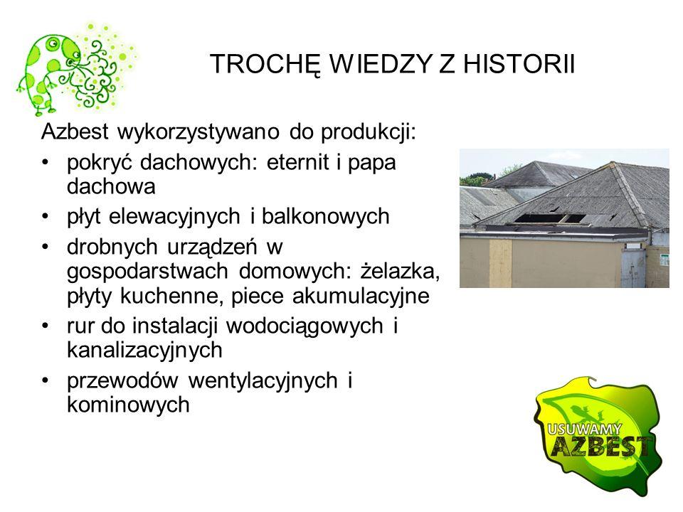 TROCHĘ WIEDZY Z HISTORII Azbest wykorzystywano do produkcji: pokryć dachowych: eternit i papa dachowa płyt elewacyjnych i balkonowych drobnych urządze