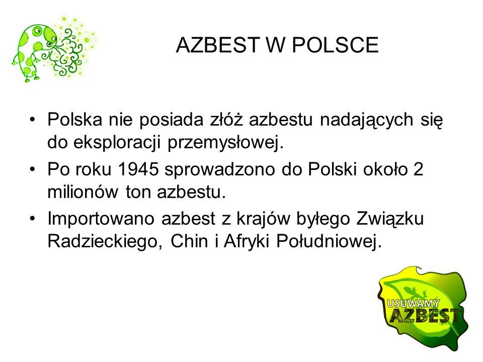 AZBEST W POLSCE Polska nie posiada złóż azbestu nadających się do eksploracji przemysłowej. Po roku 1945 sprowadzono do Polski około 2 milionów ton az
