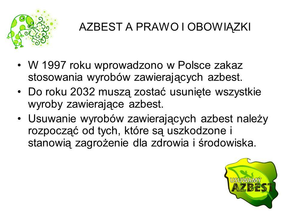 AZBEST A PRAWO I OBOWIĄZKI W 1997 roku wprowadzono w Polsce zakaz stosowania wyrobów zawierających azbest. Do roku 2032 muszą zostać usunięte wszystki