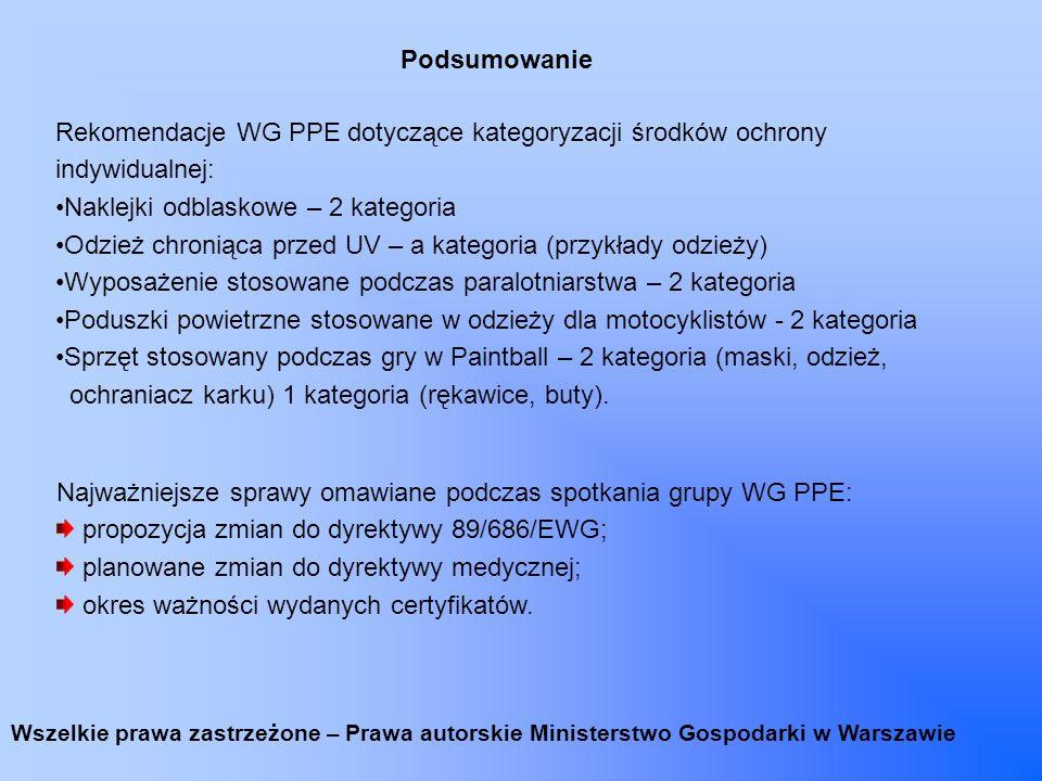 Rekomendacje WG PPE dotyczące kategoryzacji środków ochrony indywidualnej: Naklejki odblaskowe – 2 kategoria Odzież chroniąca przed UV – a kategoria (