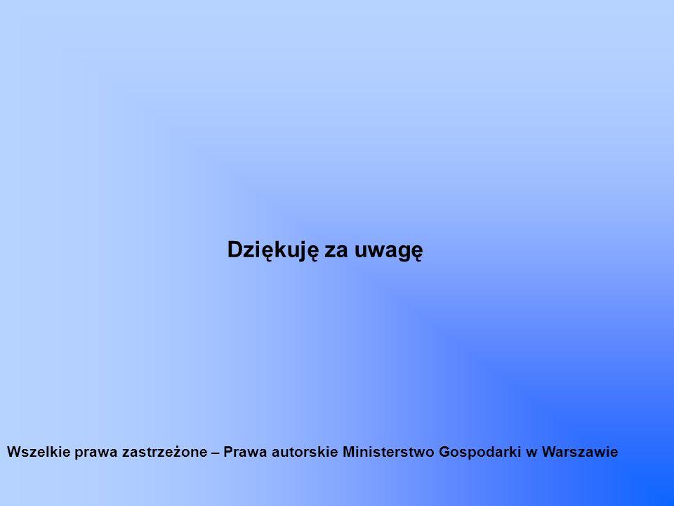 Dziękuję za uwagę Wszelkie prawa zastrzeżone – Prawa autorskie Ministerstwo Gospodarki w Warszawie