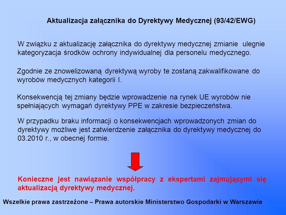 Aktualizacja załącznika do Dyrektywy Medycznej (93/42/EWG) W związku z aktualizację załącznika do dyrektywy medycznej zmianie ulegnie kategoryzacja śr