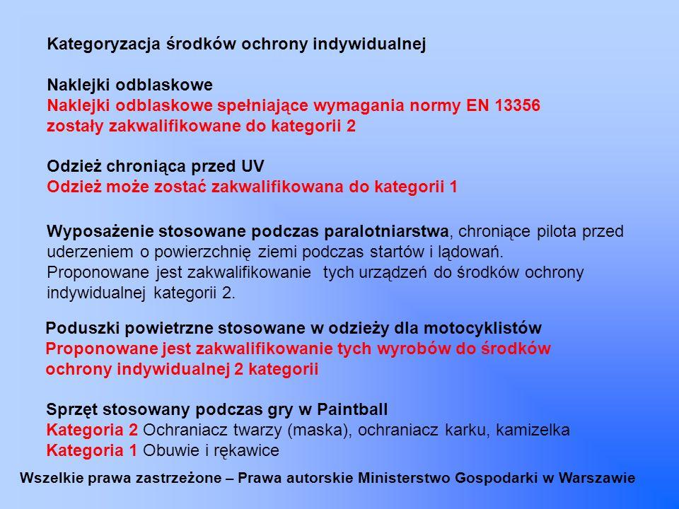 Kategoryzacja środków ochrony indywidualnej Naklejki odblaskowe Naklejki odblaskowe spełniające wymagania normy EN 13356 zostały zakwalifikowane do ka