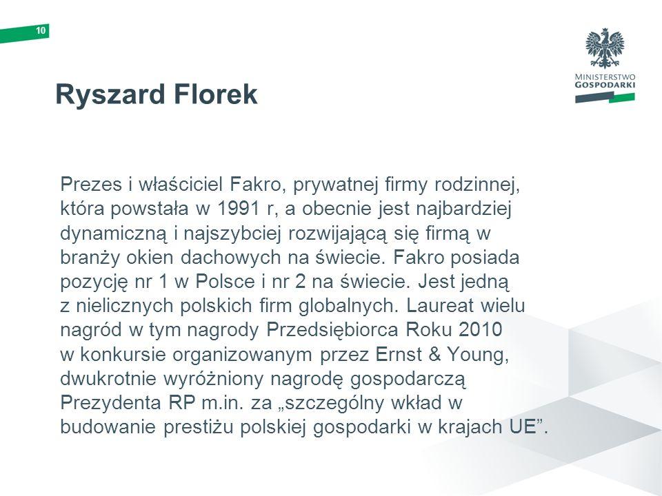 10 Ryszard Florek Prezes i właściciel Fakro, prywatnej firmy rodzinnej, która powstała w 1991 r, a obecnie jest najbardziej dynamiczną i najszybciej r