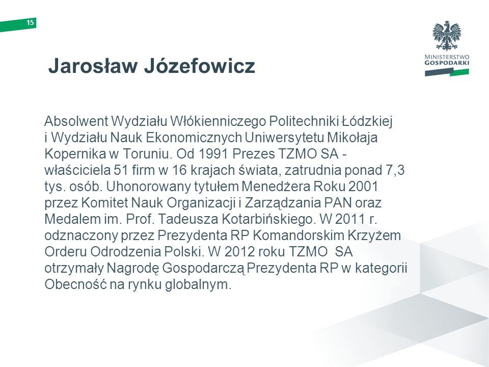 15 Jarosław Józefowicz Absolwent Wydziału Włókienniczego Politechniki Łódzkiej i Wydziału Nauk Ekonomicznych Uniwersytetu Mikołaja Kopernika w Toruniu