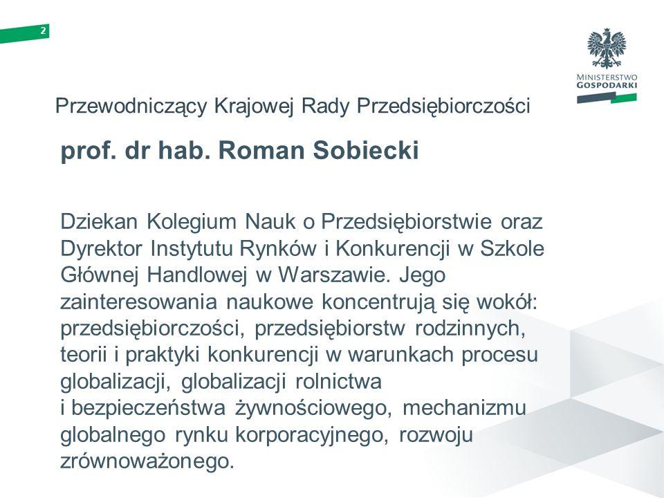 2 Przewodniczący Krajowej Rady Przedsiębiorczości prof. dr hab. Roman Sobiecki Dziekan Kolegium Nauk o Przedsiębiorstwie oraz Dyrektor Instytutu Rynkó