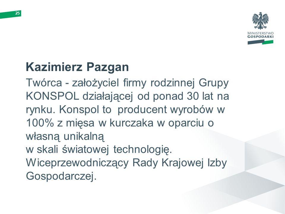 25 Kazimierz Pazgan Twórca - założyciel firmy rodzinnej Grupy KONSPOL działającej od ponad 30 lat na rynku. Konspol to producent wyrobów w 100% z mięs