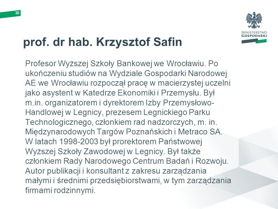 30 prof. dr hab. Krzysztof Safin Profesor Wyższej Szkoły Bankowej we Wrocławiu. Po ukończeniu studiów na Wydziale Gospodarki Narodowej AE we Wrocławiu