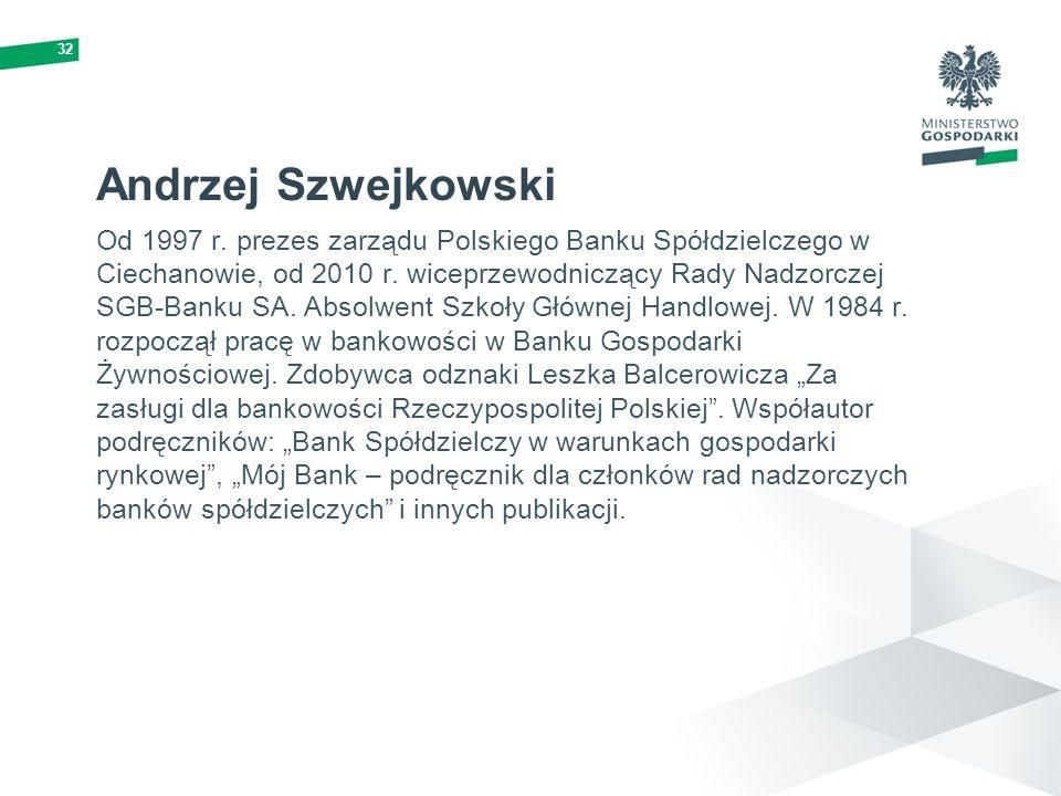 32 Andrzej Szwejkowski Od 1997 r. prezes zarządu Polskiego Banku Spółdzielczego w Ciechanowie, od 2010 r. wiceprzewodniczący Rady Nadzorczej SGB-Banku