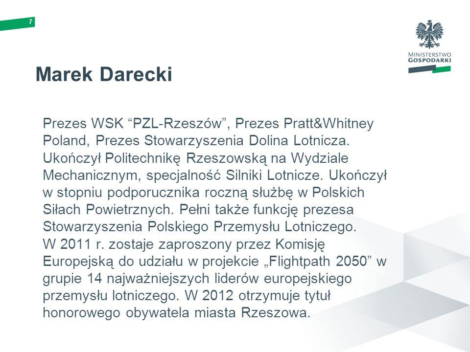 7 Marek Darecki Prezes WSK PZL-Rzeszów, Prezes Pratt&Whitney Poland, Prezes Stowarzyszenia Dolina Lotnicza. Ukończył Politechnikę Rzeszowską na Wydzia