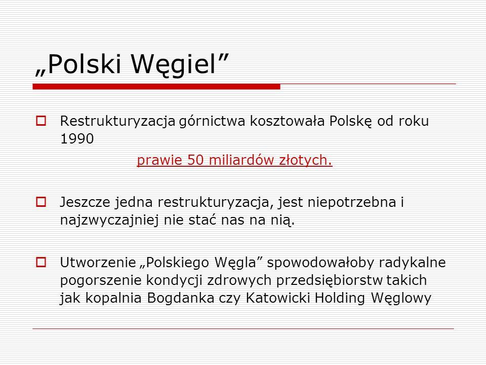 Polski Węgiel Restrukturyzacja górnictwa kosztowała Polskę od roku 1990 prawie 50 miliardów złotych. Jeszcze jedna restrukturyzacja, jest niepotrzebna