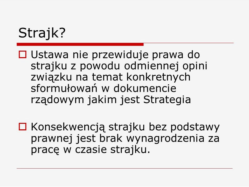 Strajk? Ustawa nie przewiduje prawa do strajku z powodu odmiennej opini związku na temat konkretnych sformułowań w dokumencie rządowym jakim jest Stra