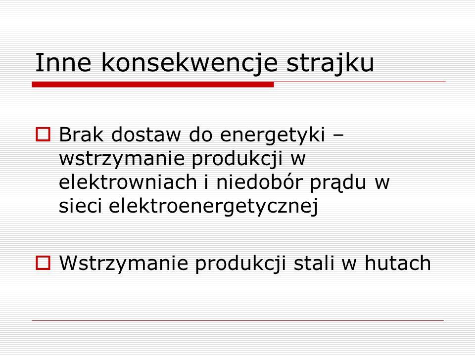 Inne konsekwencje strajku Brak dostaw do energetyki – wstrzymanie produkcji w elektrowniach i niedobór prądu w sieci elektroenergetycznej Wstrzymanie produkcji stali w hutach