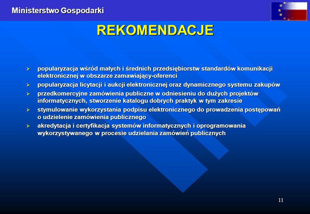 Ministerstwo Gospodarki 11 REKOMENDACJE popularyzacja wśród małych i średnich przedsiębiorstw standardów komunikacji elektronicznej w obszarze zamawia