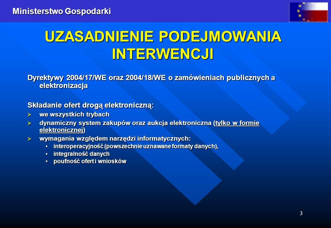 Ministerstwo Gospodarki 3 UZASADNIENIE PODEJMOWANIA INTERWENCJI Dyrektywy 2004/17/WE oraz 2004/18/WE o zamówieniach publicznych a elektronizacja Skład