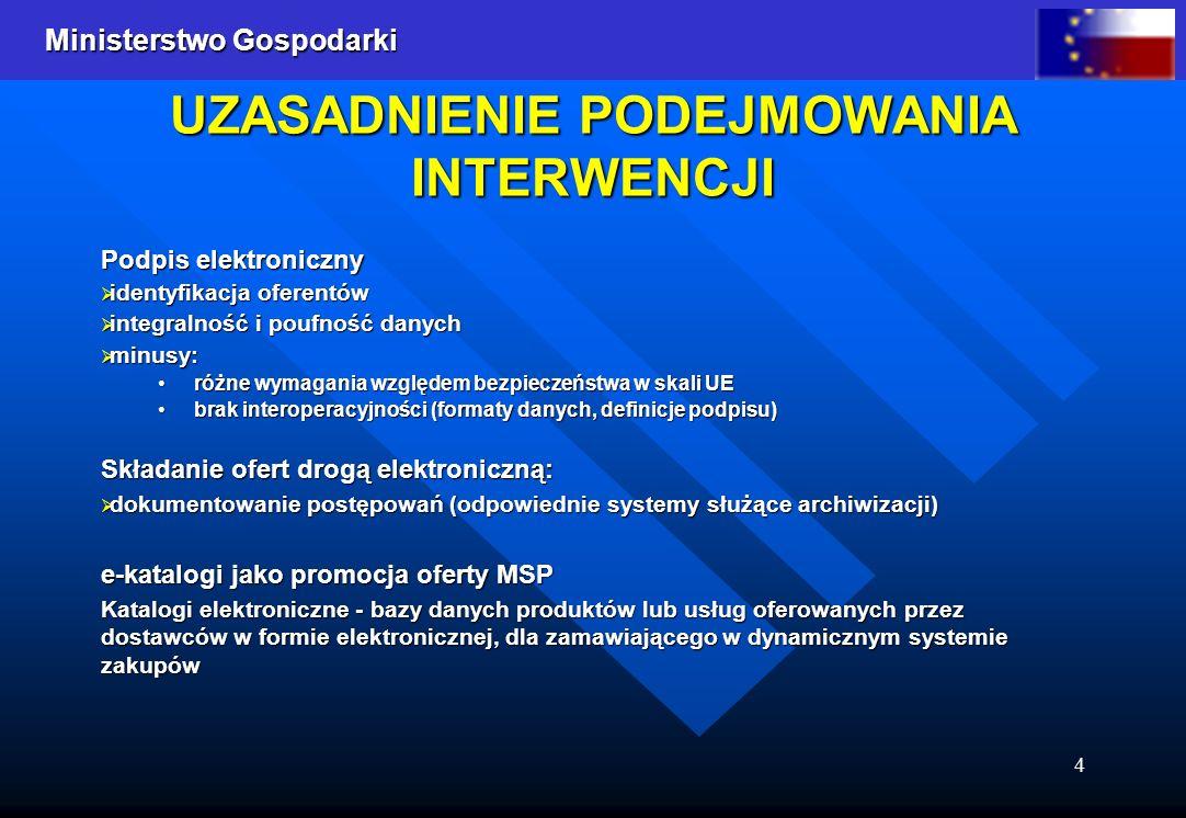Ministerstwo Gospodarki 4 UZASADNIENIE PODEJMOWANIA INTERWENCJI Podpis elektroniczny identyfikacja oferentów identyfikacja oferentów integralność i po