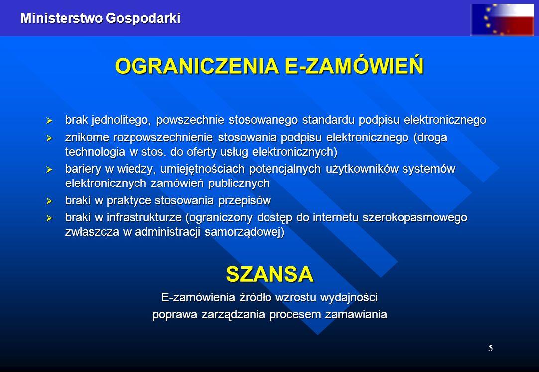 Ministerstwo Gospodarki 5 OGRANICZENIA E-ZAMÓWIEŃ brak jednolitego, powszechnie stosowanego standardu podpisu elektronicznego brak jednolitego, powsze