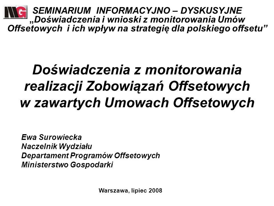 Realizowane Umowy Offsetowe Aktualnie Departament Programów Offsetowych monitoruje 11 Umów Offsetowych o łącznej wartości 6,86 mld USD i 1,1 mld EUR zawartych pomiędzy Skarbem Państwa RP a Zagranicznymi Dostawcami.