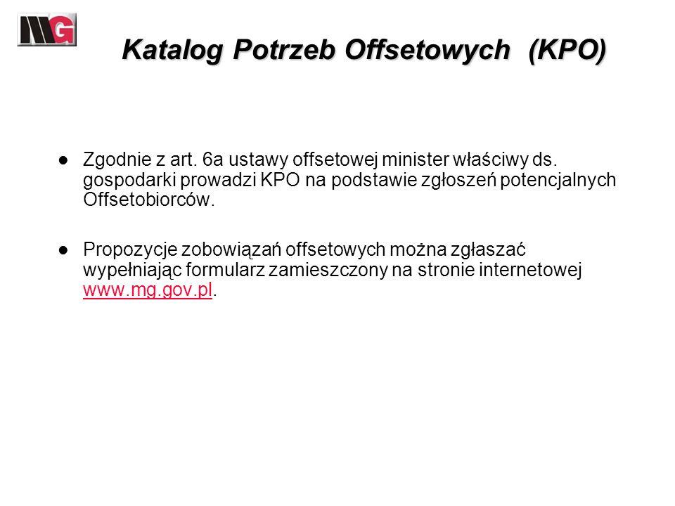 Katalog Potrzeb Offsetowych (KPO) Zgodnie z art. 6a ustawy offsetowej minister właściwy ds. gospodarki prowadzi KPO na podstawie zgłoszeń potencjalnyc