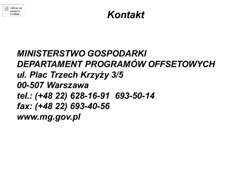 Kontakt MINISTERSTWO GOSPODARKI DEPARTAMENT PROGRAMÓW OFFSETOWYCH ul. Plac Trzech Krzyży 3/5 00-507 Warszawa tel.: (+48 22) 628-16-91 693-50-14 fax: (