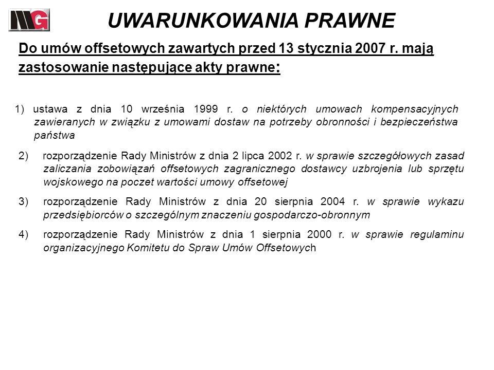 2) rozporządzenie Rady Ministrów z dnia 2 lipca 2002 r. w sprawie szczegółowych zasad zaliczania zobowiązań offsetowych zagranicznego dostawcy uzbroje
