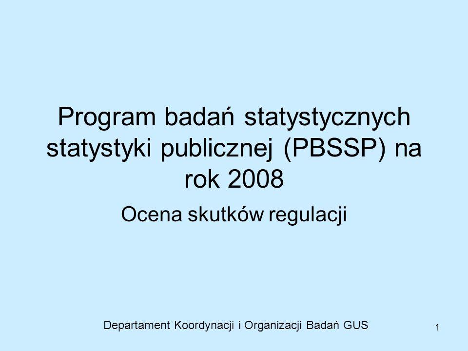 1 Program badań statystycznych statystyki publicznej (PBSSP) na rok 2008 Ocena skutków regulacji Departament Koordynacji i Organizacji Badań GUS