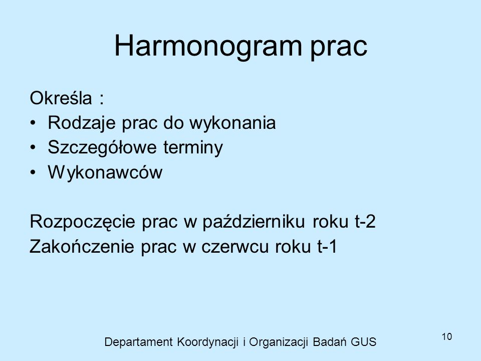10 Harmonogram prac Określa : Rodzaje prac do wykonania Szczegółowe terminy Wykonawców Rozpoczęcie prac w październiku roku t-2 Zakończenie prac w cze