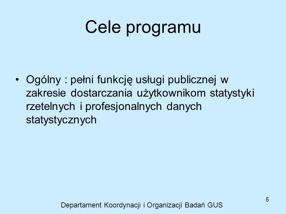 5 Cele programu Ogólny : pełni funkcję usługi publicznej w zakresie dostarczania użytkownikom statystyki rzetelnych i profesjonalnych danych statystyc