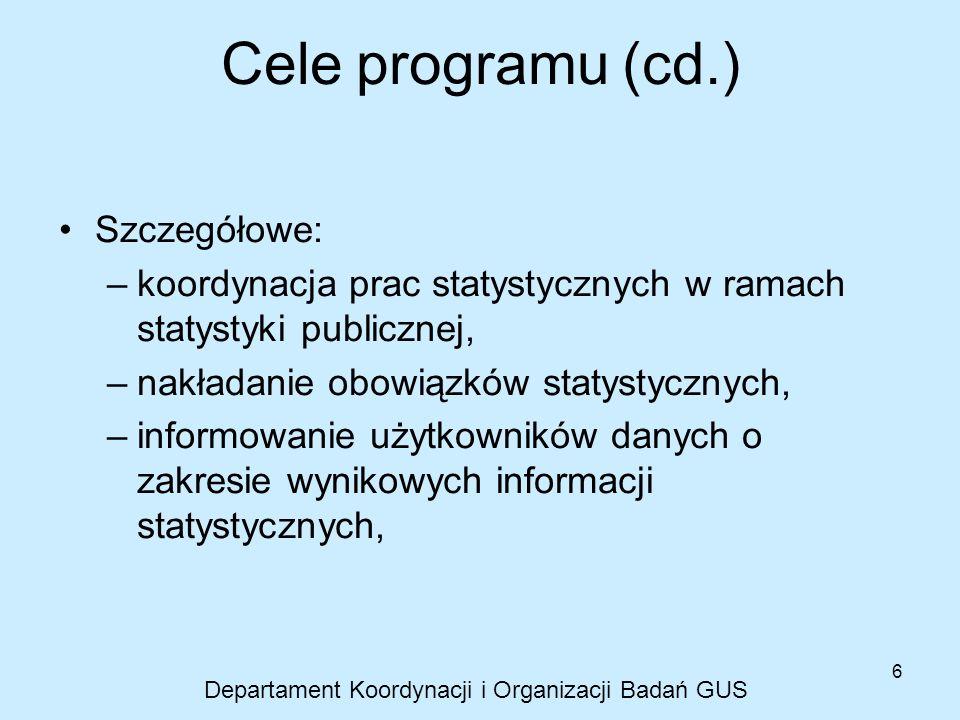 6 Cele programu (cd.) Szczegółowe: –koordynacja prac statystycznych w ramach statystyki publicznej, –nakładanie obowiązków statystycznych, –informowan