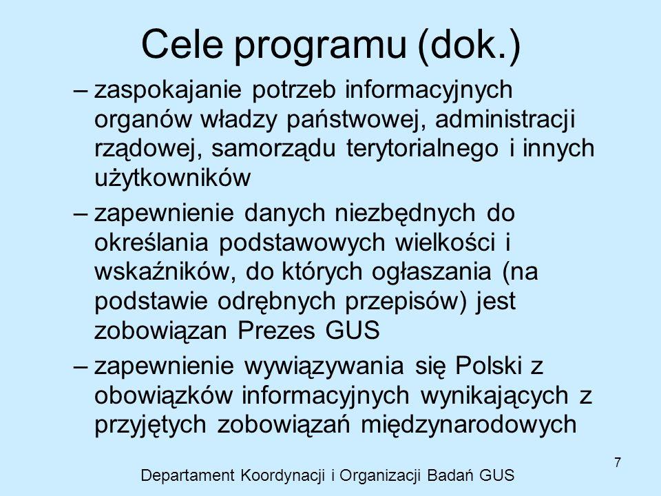 7 Cele programu (dok.) –zaspokajanie potrzeb informacyjnych organów władzy państwowej, administracji rządowej, samorządu terytorialnego i innych użytk