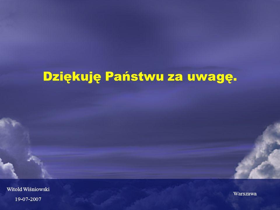Dziękuję Państwu za uwagę. Warszawa Witold Wiśniowski 19-07-2007