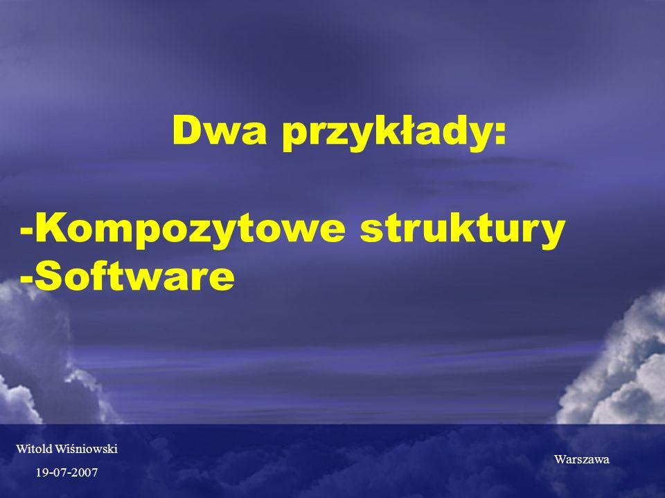 Dwa przykłady: -Kompozytowe struktury -Software Witold Wiśniowski 19-07-2007 Warszawa