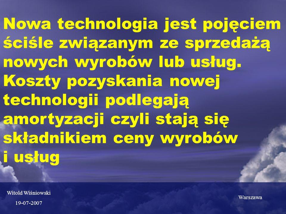 Nowa technologia jest pojęciem ściśle związanym ze sprzedażą nowych wyrobów lub usług.