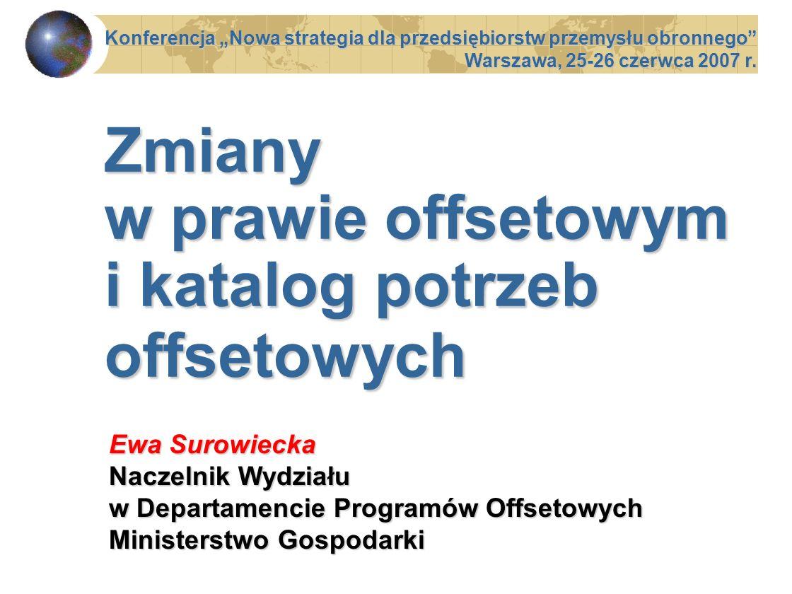 Zmiany w prawie offsetowym i katalog potrzeb offsetowych Konferencja Nowa strategia dla przedsiębiorstw przemysłu obronnego Warszawa, 25-26 czerwca 20