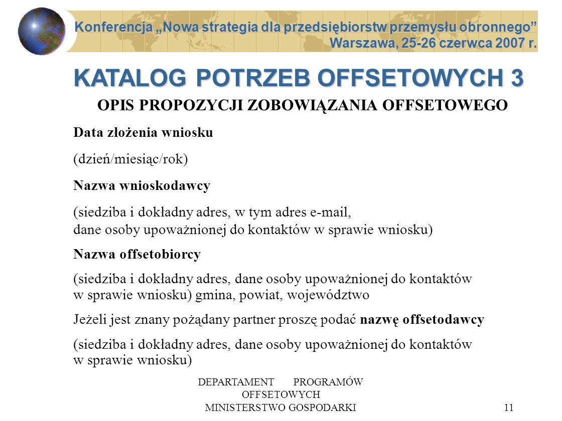 DEPARTAMENT PROGRAMÓW OFFSETOWYCH MINISTERSTWO GOSPODARKI11 OPIS PROPOZYCJI ZOBOWIĄZANIA OFFSETOWEGO Data złożenia wniosku (dzień/miesiąc/rok) Nazwa w