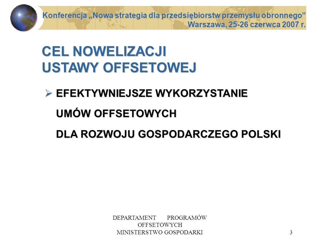 DEPARTAMENT PROGRAMÓW OFFSETOWYCH MINISTERSTWO GOSPODARKI3 EFEKTYWNIEJSZE WYKORZYSTANIE UMÓW OFFSETOWYCH DLA ROZWOJU GOSPODARCZEGO POLSKI EFEKTYWNIEJS