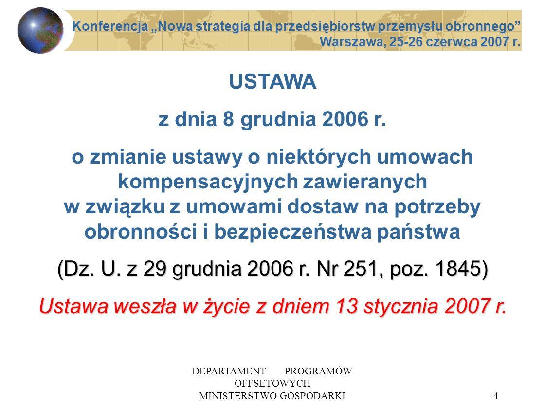 DEPARTAMENT PROGRAMÓW OFFSETOWYCH MINISTERSTWO GOSPODARKI15 SPODZIEWANE SKUTKI NOWELIZACJI 1 PRECYZYJNA PROCEDURA ZAWIERANIA UMÓW OFFSETOWYCH PRECYZYJNA PROCEDURA ZAWIERANIA UMÓW OFFSETOWYCH WZROST ROLI OFERT I ZOBOWIĄZAŃ OFFSETOWYCH WZROST ROLI OFERT I ZOBOWIĄZAŃ OFFSETOWYCH WPŁYW OFFSETU NA WYBÓR OFERTY DOSTAWY WPŁYW OFFSETU NA WYBÓR OFERTY DOSTAWY ROZWÓJ MSP W TYM SEKTORA OBRONNEGO ROZWÓJ MSP W TYM SEKTORA OBRONNEGO Konferencja Nowa strategia dla przedsiębiorstw przemysłu obronnego Warszawa, 25-26 czerwca 2007 r.