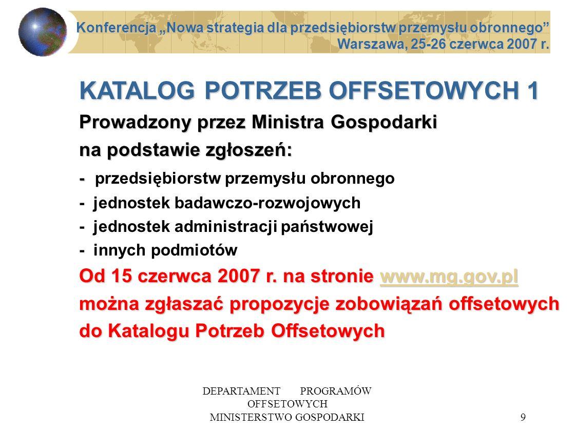 DEPARTAMENT PROGRAMÓW OFFSETOWYCH MINISTERSTWO GOSPODARKI9 KATALOG POTRZEB OFFSETOWYCH 1 Prowadzony przez Ministra Gospodarki na podstawie zgłoszeń: -