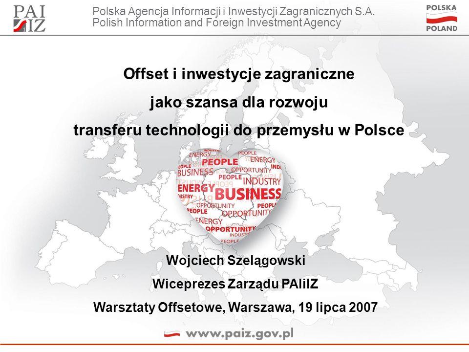 Polska Agencja Informacji i Inwestycji Zagranicznych S.A. Polish Information and Foreign Investment Agency Offset i inwestycje zagraniczne jako szansa