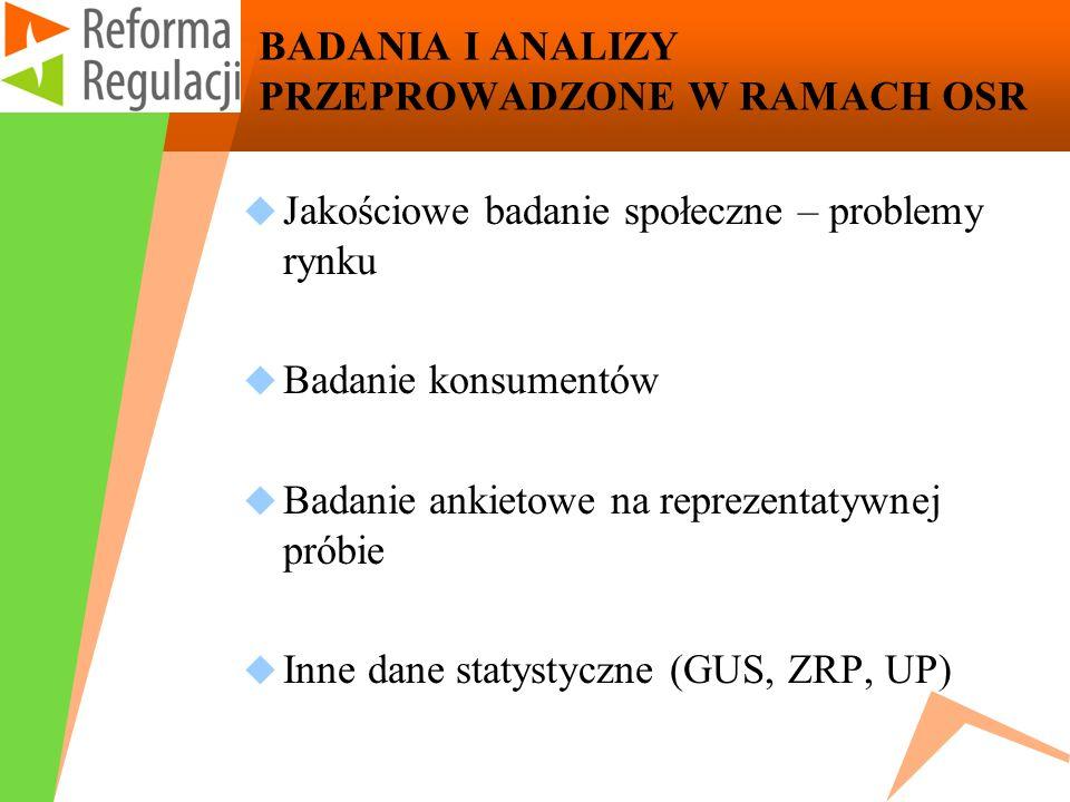 BADANIA I ANALIZY PRZEPROWADZONE W RAMACH OSR Jakościowe badanie społeczne – problemy rynku Badanie konsumentów Badanie ankietowe na reprezentatywnej