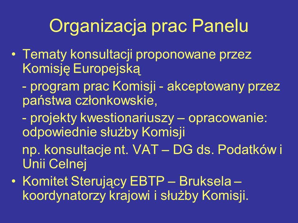 Organizacja prac Panelu Tematy konsultacji proponowane przez Komisję Europejską - program prac Komisji - akceptowany przez państwa członkowskie, - projekty kwestionariuszy – opracowanie: odpowiednie służby Komisji np.
